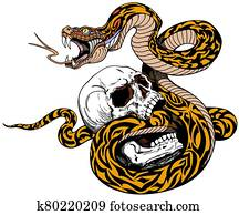 Broken human skull and snake. Tattoo