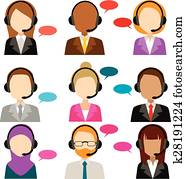 Call Center Service Diversity Icons