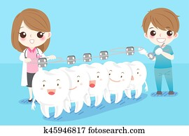 dentist with white tooth