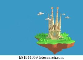 3D illustrator Basilica De La Sagrada Familia in Spain. 3d rendering Low Polygon Geometry Background. Abstract Polygonal Geometric Shape. Lowpoly Minimal Style Art.
