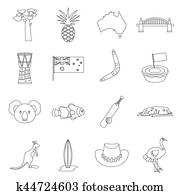Australia travel icons set, outline style