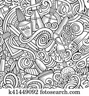 Cartoon doodles Manicure seamless pattern