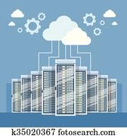 daten zentrieren, wolke, anschluss, hosting, server, edv