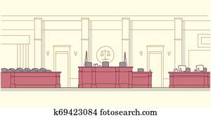 empty courtroom with wooden furniture judge and secretary workplace jury box seats modern courthouse interior justice and jurisprudence concept horizontal banner sketch doodle