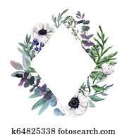 Floral frame. Watercolor botanical hand drawn