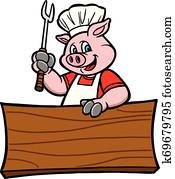grillspass, schwein, mit, a, zeichen