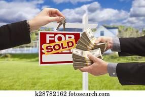 Handing Over Cash for Keys in Front of House, Sign