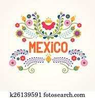 mexiko, flowers,, muster, und, elemente