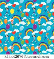 Seamless pattern with rainbows, clouds, colorful balloons and cute girls with teddy bears on sky blue background.
