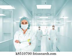 wissenschaftler, team, an, modernes, klinikum, lab,, gesellschaft, von, doktoren