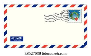 christmas airmail envelope