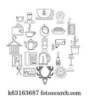 Furnished rooms icons set, outline style
