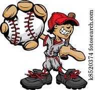 kind, baseball- spieler, halten, basebal