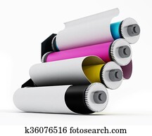 Rolled paper inside CMYK printing cylinders