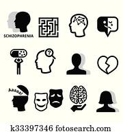 Schizophrenia, mental health icons