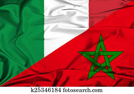 Waving flag of Morocco and Italy
