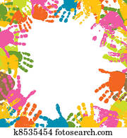 Abstract background, prints of hands of the child, vector