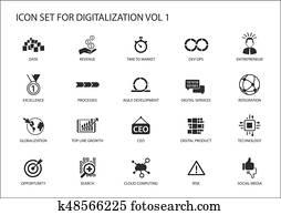 Digitalization icon vector set for topics like agile development, dev ops, globalization, opportunity, cloud computing, search, entrepreneur, integration, digital services