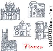 France vector landmarks facades icons of Provence