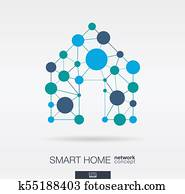 Smart home integrated thin lines and circles. Digital neural network concept.