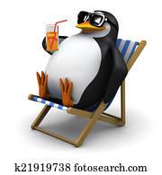 3d Penguin sunbathes with a drink