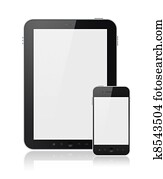 Digital Tablet PC With Mobile Smart Phone Isolated
