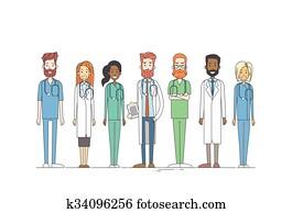Group Medial Doctors Team Work Thin Line