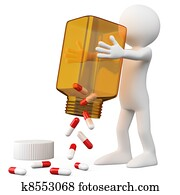 3D Doctor emptying a bottle of pills