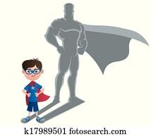 junge, superhero, begriff
