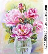 Roses bouquet in glass vase