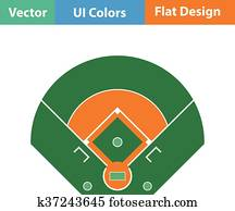 Baseball field aerial view icon