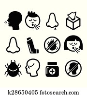 Cold, flu icons - nasal infection,