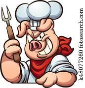 küchenchef, schwein