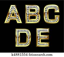 Set of gold and diamond letters
