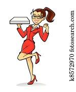Cartoon pizza girl cheer