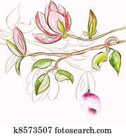 dekorativ, frühjahrsblumen