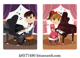 kinder, spielenden klavier