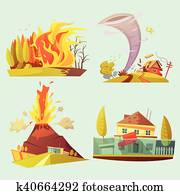 Natural Disaster Retro Cartoon 2x2 Icons Set