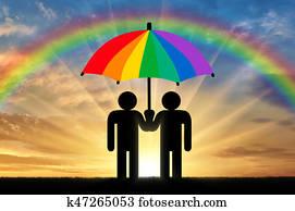Two gay men under a rainbow umbrella