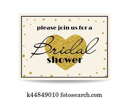 Bridal shower invitation with gold glitter heart and dots