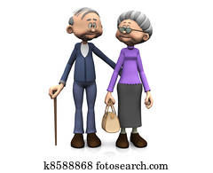 Elderly cartoon couple.