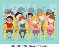 Stickman Kids Classroom Raise Hands Illustration