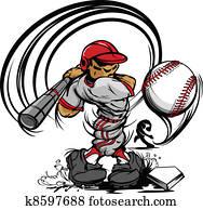 baseball- spieler, karikatur, schwingen, b.a.