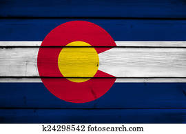 Colorado State Flag on wood background