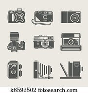 fotoapperat, neu, und, früher, symbol