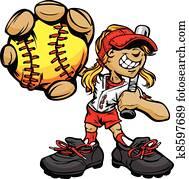 kind, softballspieler, halten, basebal