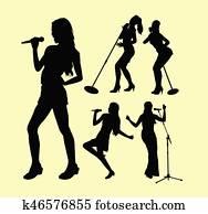 singen, weiblich, handlung, silhouette