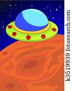 UFO on a Planet
