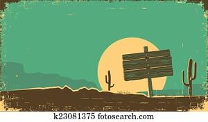 Western illustration of desert landscape on old paper texture