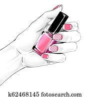 Woman hand with a beautiful french manicure holding nail polish. Fashion illustration